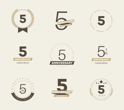 5 years anniversary logo set. Vector illustration.