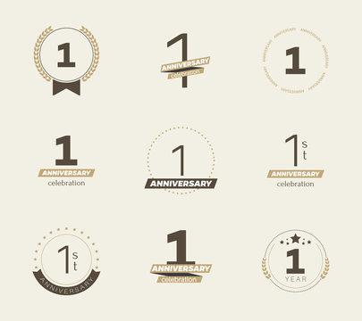 1 year anniversary logo set. Vector illustration.