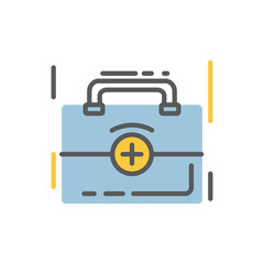 Medical bag icon flat and line modern style
