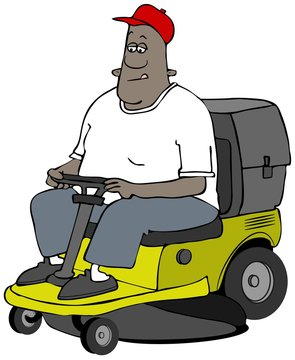 Illustration of a black man riding on a yellow riding lawnmower cutting grass.