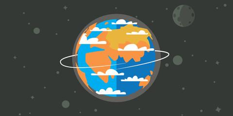 Earth in space cartoon