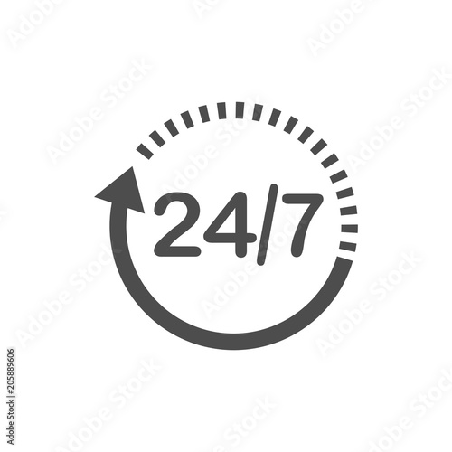 24 hours 7 days icon time clock icon vector illustration flat