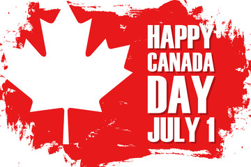 Happy Canada Day, july 1 celebrate brush stroke background with maple leaf. Vector illustration.