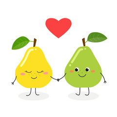 Vector illustration of cute cartoon pears