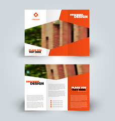 Brochure template. Business trifold flyer.  Creative design for professional corporate style. Vector illustration. Orange color.