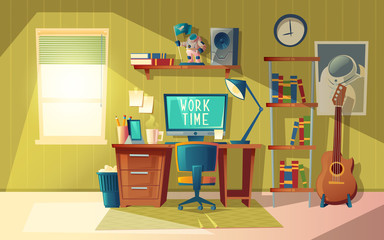 Vector cartoon illustration of empty home office, modern interior with furniture. Computer, books and coffee cup on table. Workplace concept, cozy room for freelance job or education