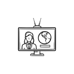 TV report hand drawn outline doodle icon. TV set with news reporter as concept of world broadcasting vector sketch illustration for print, web, mobile and infographics isolated on white background.
