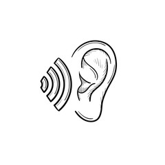 Human ear with sound waves hand drawn outline doodle icon. Human ear as a concept of listening vector sketch illustration for print, web, mobile and infographics isolated on white background.