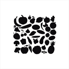 Fruit and Vegetables icon set.Vector silhouettes of fruits vegetables, berries on a white background. A set of food black stencils