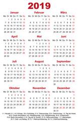 Kalender 2019 Visitenkartenformat mit Feiertagen