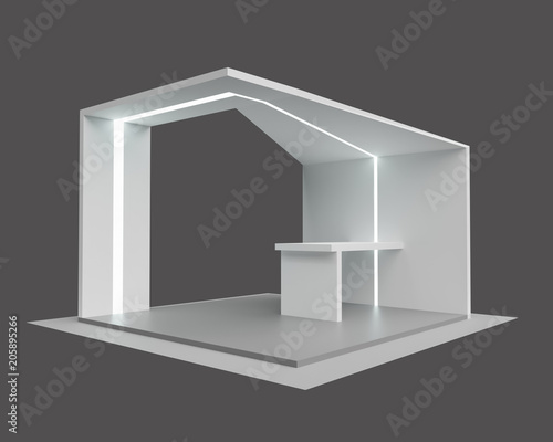 Exhibition Booth Blank : Blank mock up creative exhibition stand design with shapes booth
