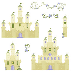 Beautiful Stone Fairy Tale Fantasy Castle Tower Design Set Flat Vector Illustration Isolated on White