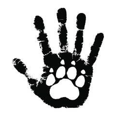 Take care of animals. Animal paw print on handprint human. Isolated black symbol on white background. Abstract vector illustration.