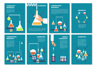 Chemistry laboratory testing. Pharmacy processing and science medical research lab. Vector book covers, brochure template