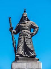 The statue of Yi Sun-Shin outside of Gyeongbokgung Palace in Seoul, South Korea.