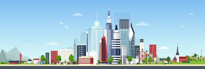 Fototapete - Urban landscape with modern down town or city center and small private residential houses against blue sky on background. Beautiful cityscape. Colorful vector illustration in flat cartoon style.