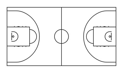 Basketball court line vector background. Outline basketball sports field