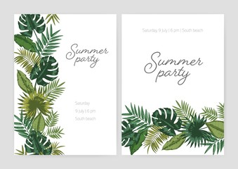 Set of summer party invitation, poster, flyer templates with borders made of green foliage of tropical plants and exotic palm tree leaves on white background and place for text. Vector illustration.