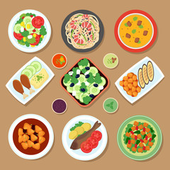 Top view dinner table with european dishes and japanese cuisine meal. Cartoon food vector set isolated