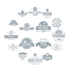 Pizzeria logo icons set. Simple illustration of 16 pizzeria logo vector icons for web