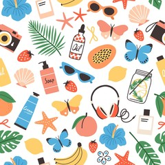 Summer seamless pattern fresh tropical fruits, seashells, exotic flowers, palm leaves, sunglasses, butterflies. Bright colored seasonal backdrop. Vector illustration for textile print, wrapping paper.