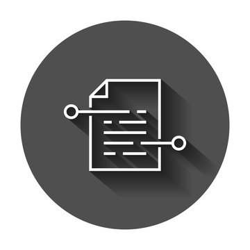Document paper icon in flat style. Terms sheet illustration with long shadow. Document analytics business concept.