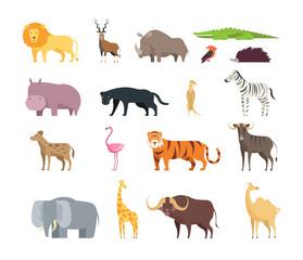 Cartoon african savannah animals. Wild zoo safari mammals, reptiles and birds vector set isolated on white background