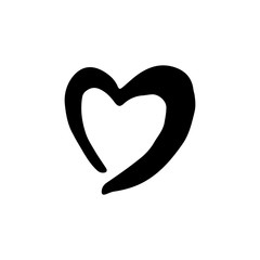 Handdrawn heart doodle icon. Hand drawn black sketch. Sign symbol. Decoration element. White background. Isolated. Flat design. Vector illustration