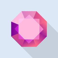 Diamond ruby icon. Flat illustration of diamond ruby vector icon for web design