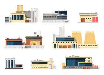 Industrial factory and manufacturing plant exterior flat vector icons for industry concept