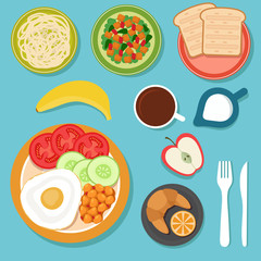 Breakfast eating food and drinks on table top view vector illustration