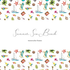 Сard for an inscription with ice cream, palm tree, sunbed, ball, suitcase, sunglasses, cocktail, flower, seashells, yacht, pineapple and starfish on white background. Watercolor hand drawn illustratio