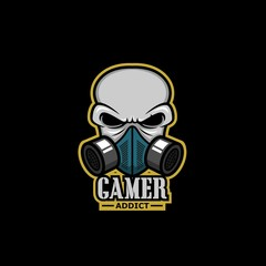e sport gaming logo skull with mask