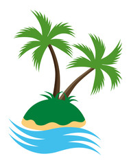 Palm tree Island vector icon