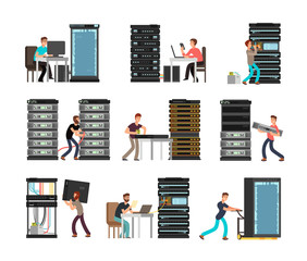 Man engineer, technician working in server room. Digital computer center support, data storage. Vector cartoon characters set isolated