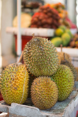 Durian in a produce market, Bali