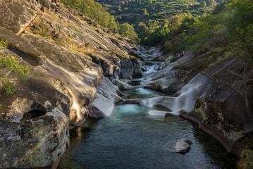 Natural pools of Los Pilones in Garganta de los Infiernos gorge, Caceres province in Spain