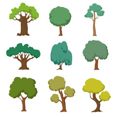 Cartoon green trees. Cute nature forest plant and bushes vector set isolated on white background
