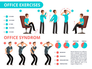 Employee doing office exercises desk. Medical vector diagram with cartoon people