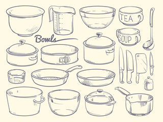 Doodle cooking equipment and kitchen utensils. Hand drawn vector kitchenware isolated
