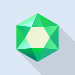 Shiny emerald icon. Flat illustration of shiny emerald vector icon for web design