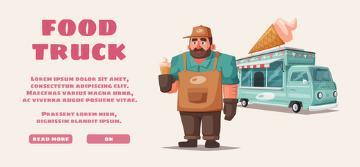 Retro street food van. Funny seller character. Cartoon vector illustration.