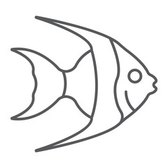 Tropical fish thin line icon, animal underwater
