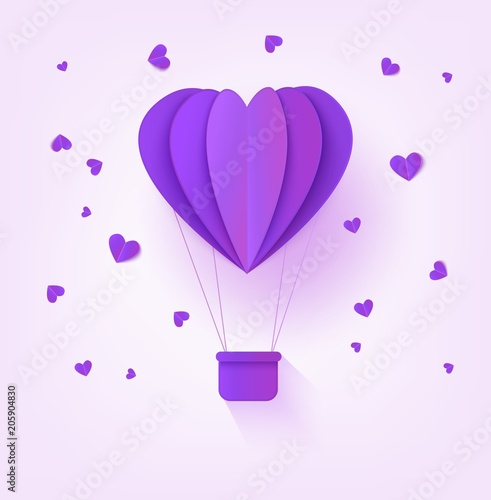 Folded Violet Paper Hot Air Balloon In Form Of Heart Surrounded By