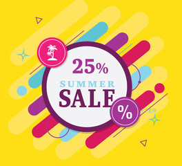 Summer banner vector. Label of  Super Sale 25% off discount and special offer. Black Friday online shopping tag. Сyber Monday