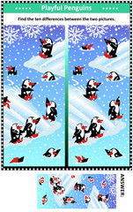 Winter, Christmas or New Year themed visual puzzle with happy playful penguins: Find the ten differences between the two pictures. Answer included.