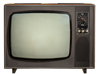 old 1960s tv isolated on white background