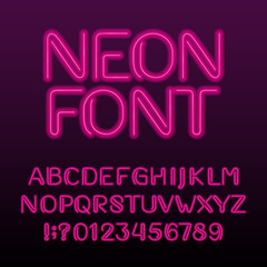 Neon light alphabet font. Neon color letters and numbers. Stock vector typeset for your design.