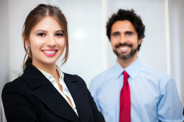Two business partners in an office