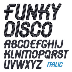 Set of vector italic capital funky alphabet letters isolated for use in logo design for karaoke club advertising